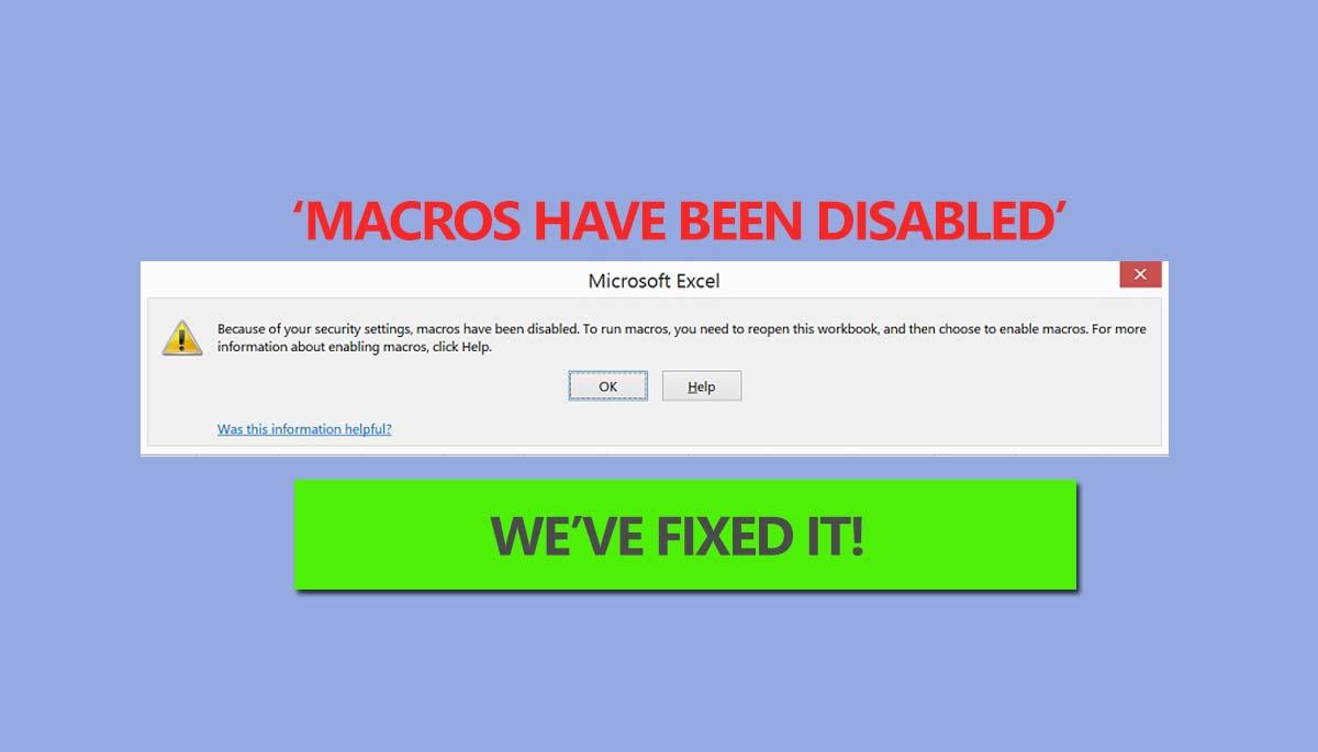 Enable Macros in Excel
